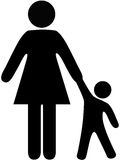 La mama y el niño de la gente del símbolo llevan a cabo las manos Foto de archivo