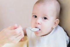 La maman alimente ses neuf mois de bébé à la maison Images libres de droits