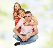 La maman de papa et une petite fille avec du charme Images libres de droits