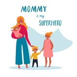 La maman est mon texte de super héros Pour le jour heureux de la mère s illustration stock