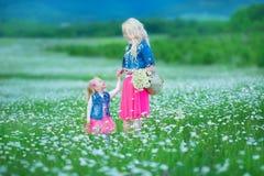 La maman et la fille sur un pique-nique dans la camomille mettent en place Deux belles blondes portant la veste de jeans et le gi Photo stock