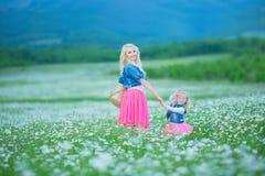 La maman et la fille sur un pique-nique dans la camomille mettent en place Deux belles blondes portant la veste de jeans et le gi Images stock