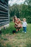 La maman et le fils regardent les chatons Photographie stock libre de droits