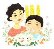 La maman et son garçon ont un sourire Photographie stock libre de droits