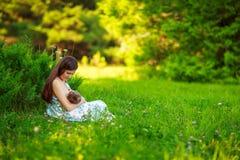 La mamma alimenta il bambino, allattamento al seno, l'estate Fotografia Stock Libera da Diritti