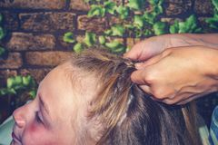 La mamma tesse i suoi capelli a sua figlia, fa i suoi capelli a casa immagine stock libera da diritti