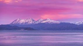 La Manche de briquet Ushuaia Lever de soleil Lever de soleil l'argentine Juillet 2014 Image stock