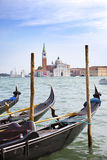 La Manche et gondoles, Venise, Italie Images libres de droits