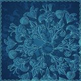 Fondo blu dell'ornamento floreale Fotografie Stock Libere da Diritti