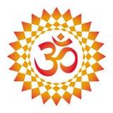 La mandala a cielo abierto, ornamento circular elegante con OM/el Aum/el ohmio firma adentro el centro ilustración del vector