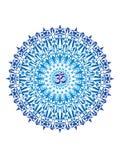 La mandala a cielo abierto, ornamento circular elegante con OM/el Aum/el ohmio firma adentro el centro Símbolo azul del vector Imagen de archivo libre de regalías