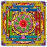 La mandala cuadrada de Buda floral aislado Fotografía de archivo libre de regalías