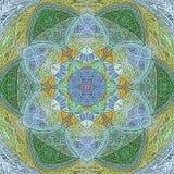La mandala digital de la estrella del océano de la teja abstracta es colores del verano ilustración del vector
