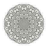 La mandala geométrica monocromática del vector de la flor se aísla en un fondo blanco Elemento decorativo con los motivos del est Imágenes de archivo libres de regalías