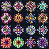 La mandala hermosa del color de la colección de los pixeles de vintage se opone stock de ilustración