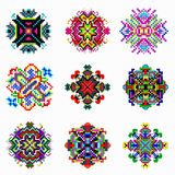 La mandala hermosa del color de la colección de los pixeles de vintage se opone Imagenes de archivo