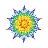 La mandala ilustrada vector con OM firma en el centro Aislado en el fondo blanco colorido y brillante stock de ilustración