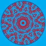 La mandala inspiró el modelo Garabatee el dibujo alrededor del ornamento en color rojo y azul stock de ilustración