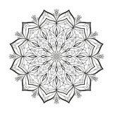 La mandala monocromática del vector de la flor se aísla en un fondo blanco Elemento decorativo con los motivos del este para el d Imágenes de archivo libres de regalías