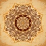 La mandala y el zodiaco adornados circundan con las muestras del horóscopo en fondo de papel envejecido Fotografía de archivo libre de regalías