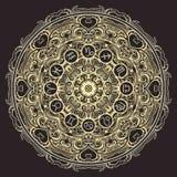 La mandala y el zodiaco adornados circundan con las muestras del horóscopo en fondo negro Imagenes de archivo
