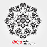 La mandala, zentangle altamente dettagliato ha ispirato l'illustrazione, in bianco e nero Libro da colorare antistress snowflake royalty illustrazione gratis