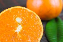 La mandarine de coupure Photographie stock