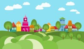 La manera al pueblo entre Rolling Hills libre illustration