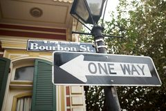 La manera de la calle una de Borbón firma adentro Luisiana fotografía de archivo