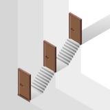 La manera de la carrera con el piso nivela detrás de concepto de la puerta Imágenes de archivo libres de regalías