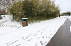 La manera en la nieve Foto de archivo libre de regalías