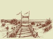 La manera a la playa ilustración del vector