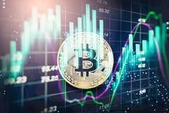 La manera moderna de intercambio y de bitcoin es pago conveniente en glob Imagen de archivo libre de regalías