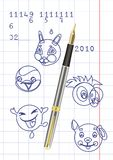 La maneta con tinta. Stock de ilustración