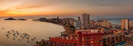 La Manga Del Mar Menor地平线,穆尔西亚 库存照片