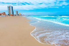 La Manga Del Mar Menor海滩在穆尔西亚西班牙 免版税库存照片