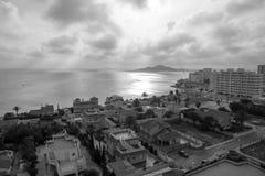 La Manga del Mar Menor Cartagena Murcia Cloudy sunset royalty free stock photos