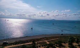 La Manga del Mar Menor Murcia, Spanien Sandy Beach Line arkivfoto