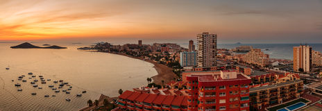 La Manga del Mar Menor Skyline, Murcia Arkivfoto