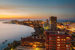 La Manga del Mar Menor Skyline nachts, Murcia Stockfoto