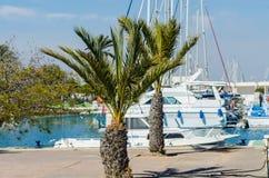 LA MANGA, SPAIN - MARCH 4, 2019 Luxury boats  in marina bay La Manga, Costa Calida, Spain stock image