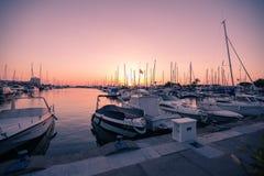 La Manga - SPANIEN, AUGUSTI 25 2014: Yachter i marina Fotografering för Bildbyråer