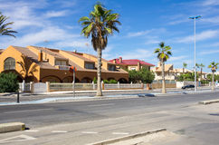 La Manga. Street of Mediterranean resort La Manga, province of Alicante, Spain stock photo