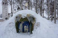 La mangeoire du Christ sur la célébration de Noël dans le vill photographie stock