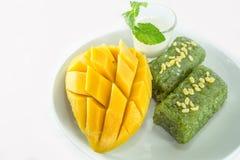La mangue avec du riz collant a servi avec du lait de noix de coco photographie stock libre de droits