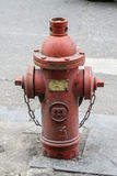 La manguera de bomberos roja en la acera Fotos de archivo