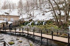 La manière en bois de promenade au parc de Fukidashi, a été faite au secteur cette eau naturelle à partir du Mt Yotei Image libre de droits