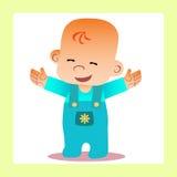 La manija reveladora bebé feliz quiere abrazar Fotos de archivo