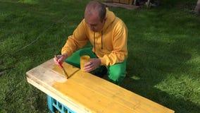 La manitas de sexo masculino con el cepillo y la pintura sacuden en las manos que pintan la superficie de madera del tablero del  almacen de metraje de vídeo