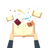 La mano abierta del sistema del libro leyó la biblioteca libre illustration